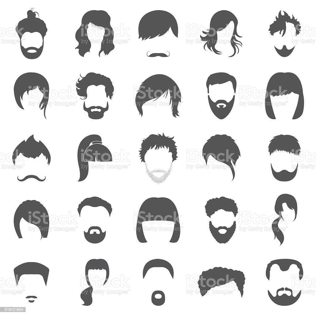 Hair 25 black simple icons set for web vector art illustration
