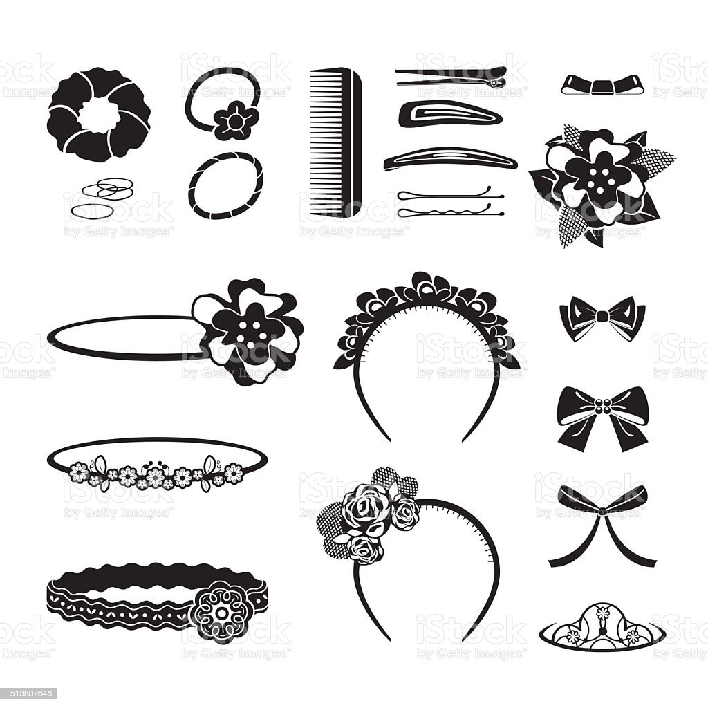 Hair Accessories Set, Monochrome vector art illustration