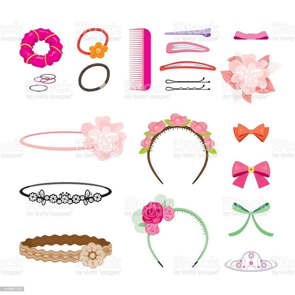Hair Accessories Set vector art illustration