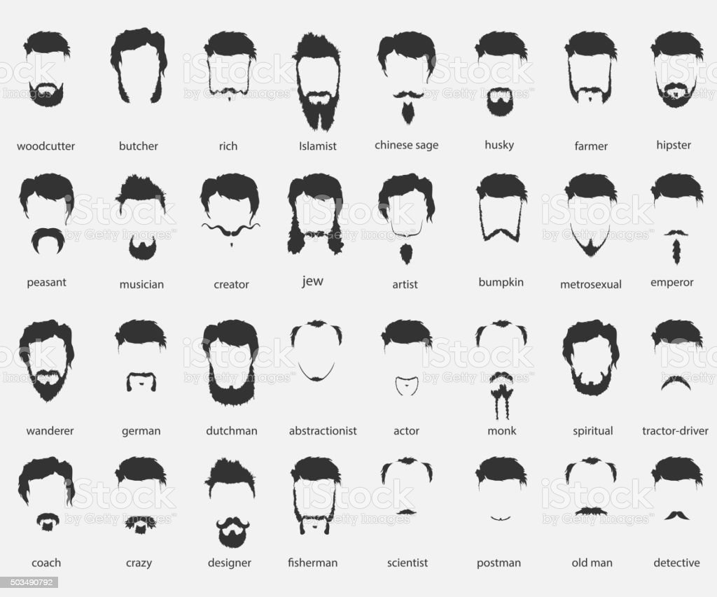 hair and beards of different faiths vector art illustration