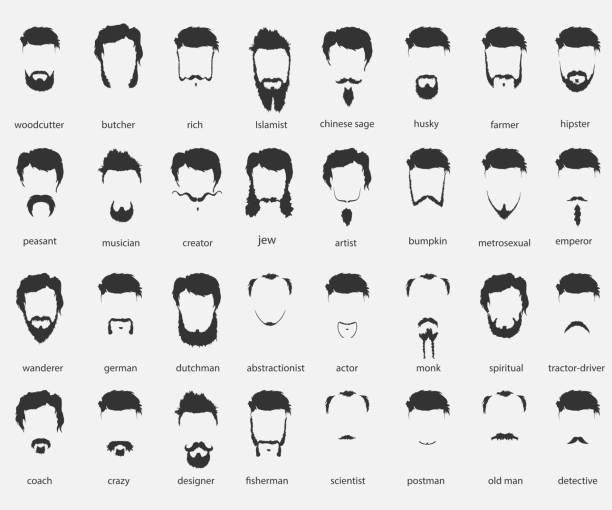 ilustraciones, imágenes clip art, dibujos animados e iconos de stock de cabello de diferentes religiones y barba - peinado