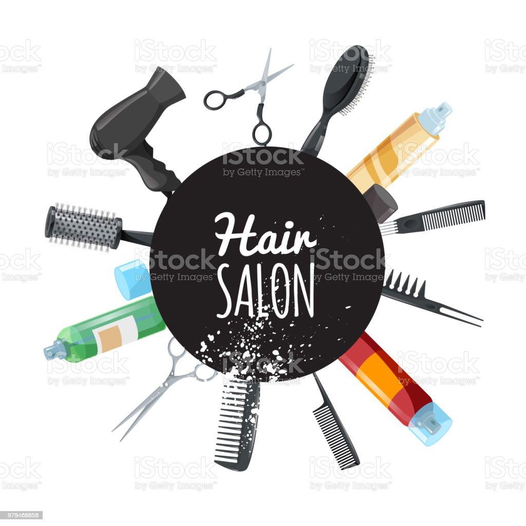 Friseur Und Kosmetiksalon Plakat Mit Schwarzen Kreis Und