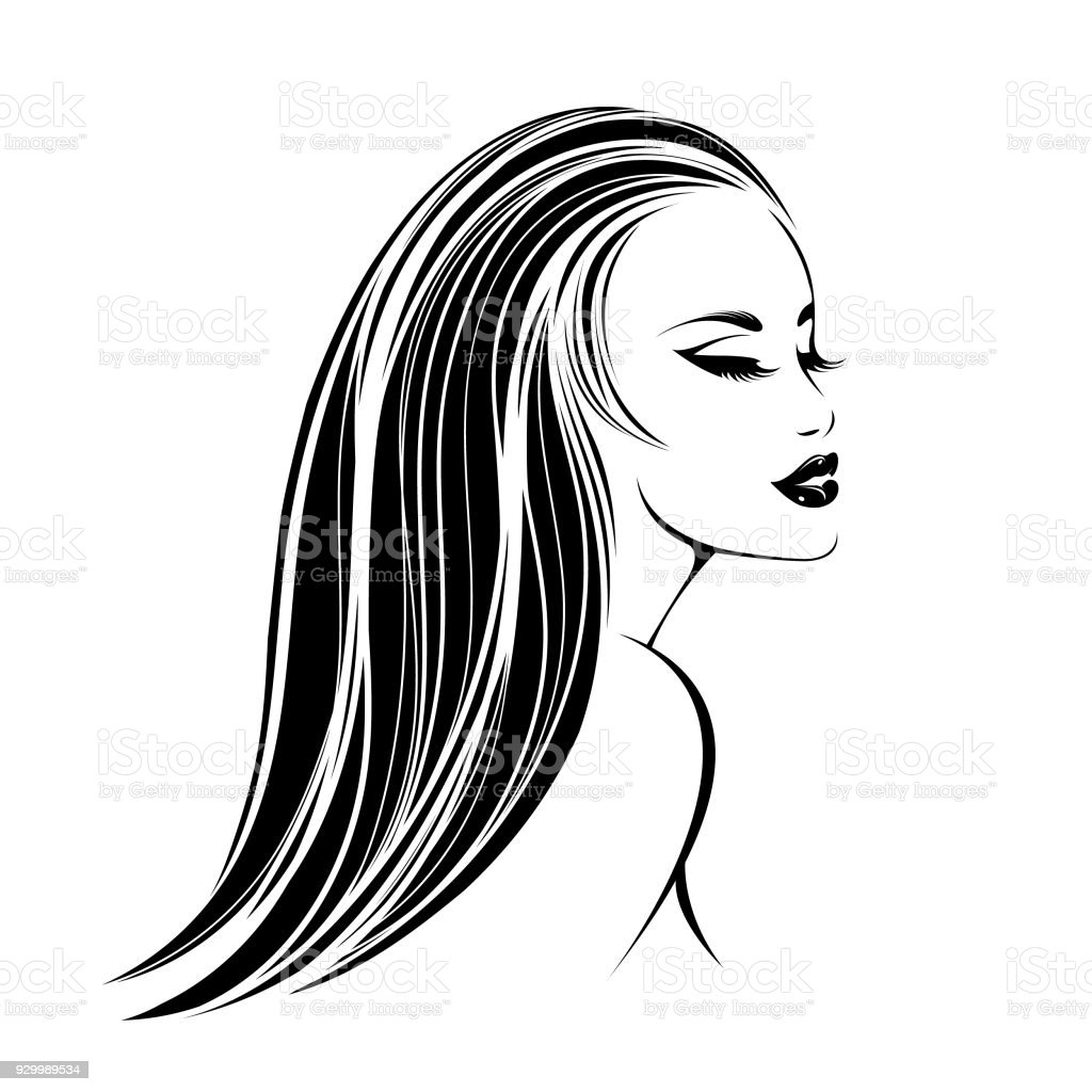 Hair And Beauty Salon Vector Iconbeautiful Woman With Long Straight Hair And Elegant Makeup Stock Illustration Download Image Now Istock