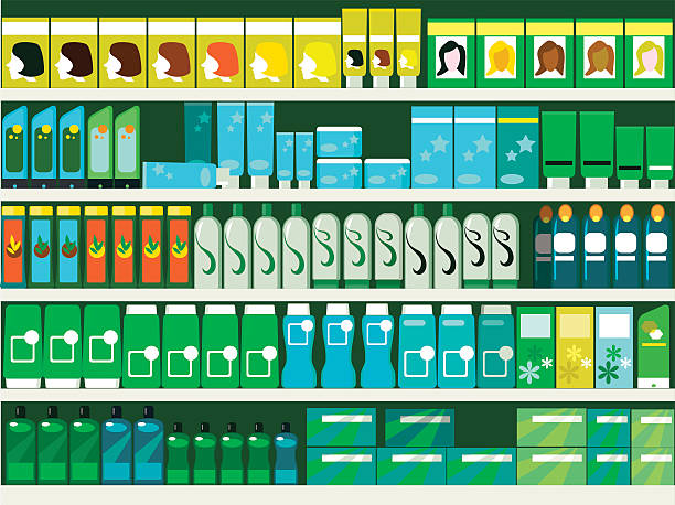 Hair and beauty Pharmacy aisle in the supermarket, shelves filled with hair and beauty products, ESP 8 vector illustration grocery aisle stock illustrations