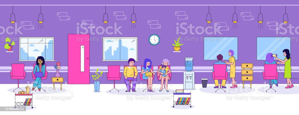 Hair Beauty Salon Vector Illustration Cartoon Flat Line People Sitting In Chairs In Barber Shop Salon Interior Hairdresser Woman Stylist Character Cut Dry Or Care Customers Hair Stock Illustration Download Image