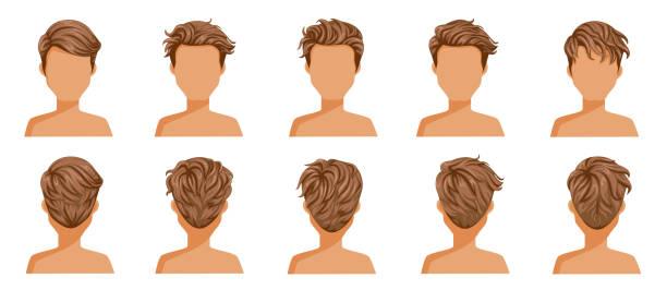 ilustraciones, imágenes clip art, dibujos animados e iconos de stock de pelo quemado hombre - peinado