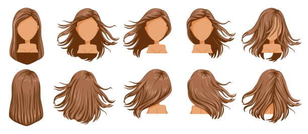 hair blown - brown hair stock illustrations