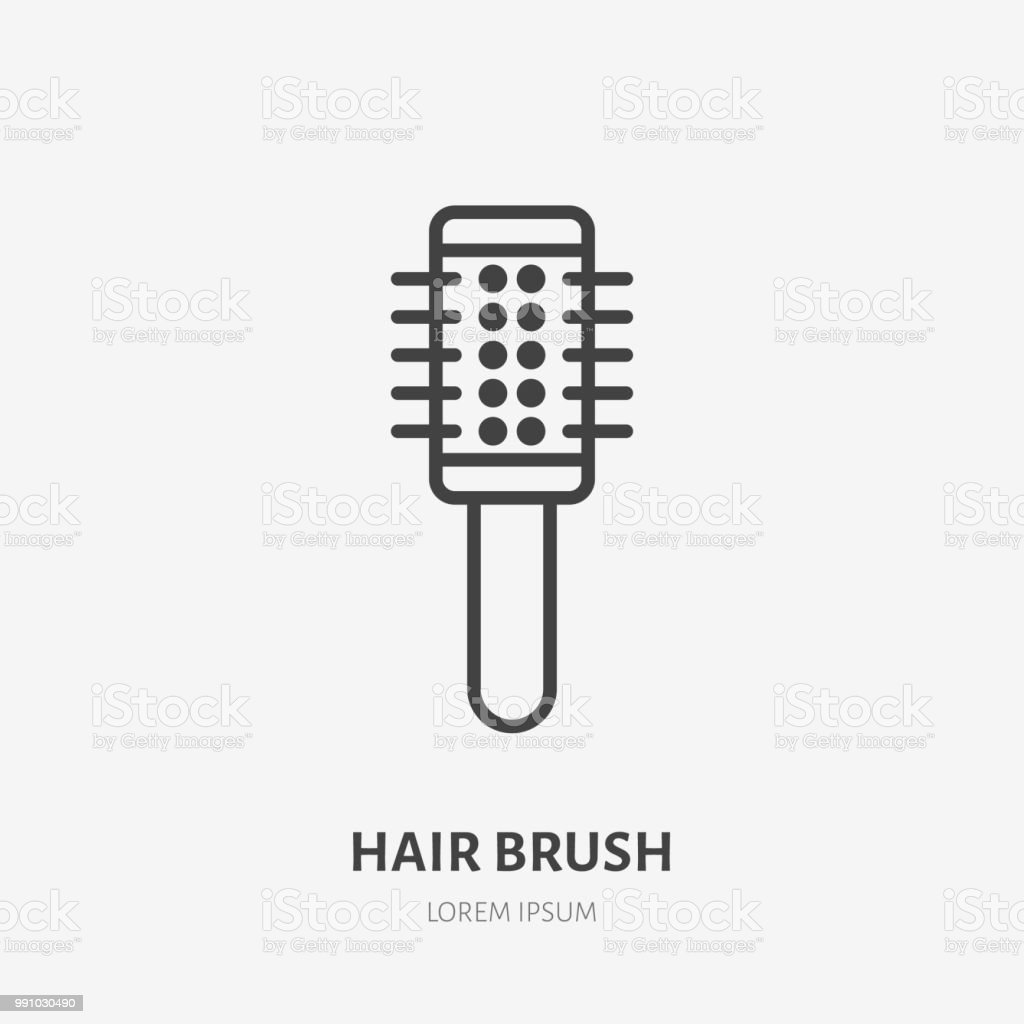 Hair Brush Flat Line Icon Makeup Beauty Care Sign