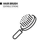 istock Hair Brush Line Icon, Outline Vector Symbol Illustration. Pixel Perfect, Editable Stroke. 1203731812
