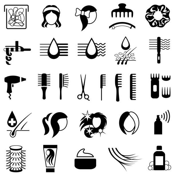 haarpflege und styling-produkte-symbole - haarsprays stock-grafiken, -clipart, -cartoons und -symbole