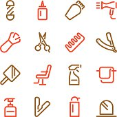 Hair Care Barber Icons - Line Color Series