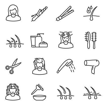 Hair care, icon set. Editable stroke