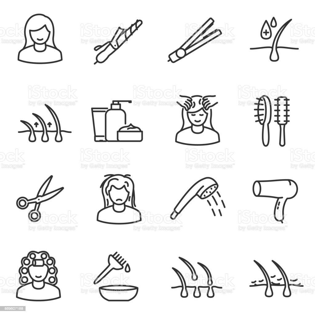 Hair care, icon set. Editable stroke vector art illustration