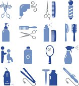 Hair salon and barbershop icons. Professional icons for your print project or Web site. See more in this series.