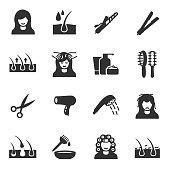 Hair care, monochrome icons set