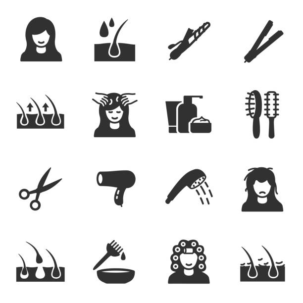 Hair care, icons set Hair care, monochrome icons set hair stock illustrations