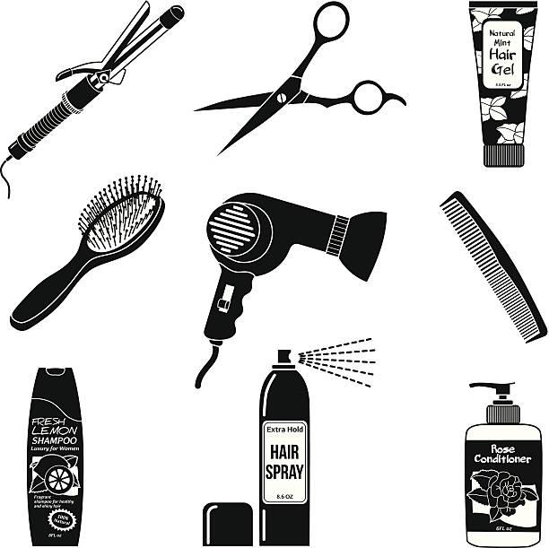 haarpflege symbole - haarsprays stock-grafiken, -clipart, -cartoons und -symbole