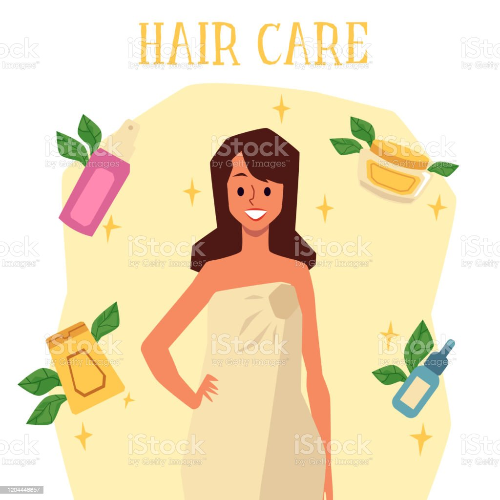 Hair Care Poster With Cartoon Woman In Bath Towel And Beauty Products Stock Illustration Download Image Now Istock