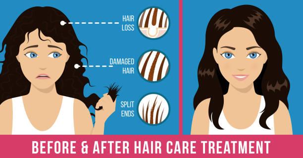 ilustraciones, imágenes clip art, dibujos animados e iconos de stock de tratamiento de cuidado capilar - cabello castaño