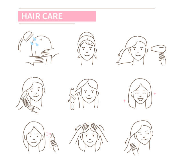 hair care Hair care procedures.Line style vector illustration isolated on white background. hair stock illustrations