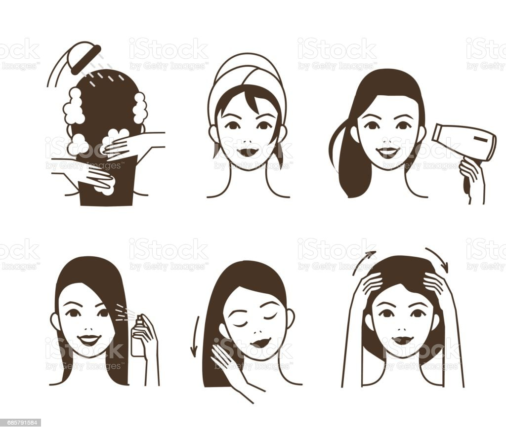 Hair care vector art illustration