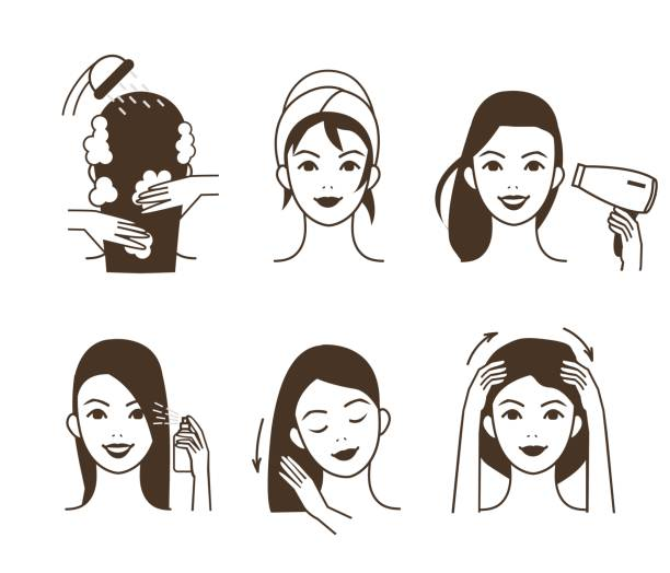 haarpflege care - shampoos stock-grafiken, -clipart, -cartoons und -symbole