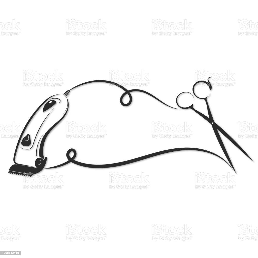 Silhueta de tosquiadeira de cabelo - ilustração de arte em vetor