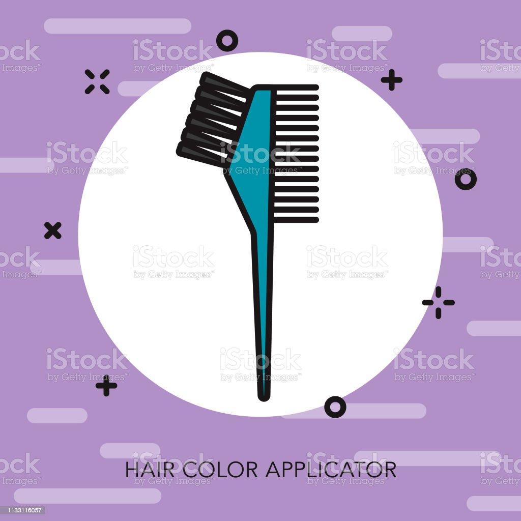 Hair Color Applicator Hairdresser Thin Line Icon vector art illustration