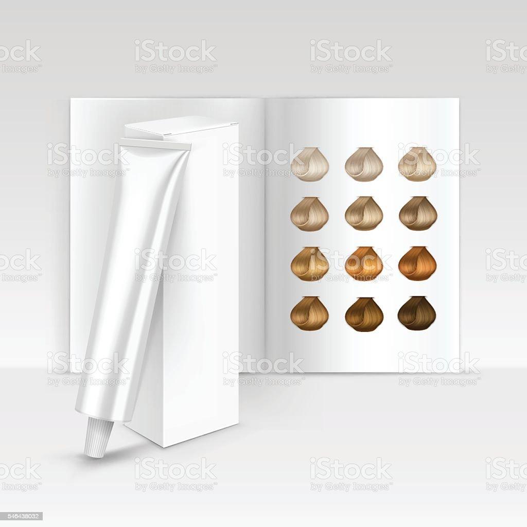 Hair Color Dye Shampoo Balsam Mask Packaging Box Palette Catalog vector art illustration