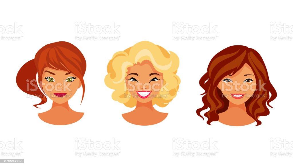 Hair color set vector art illustration
