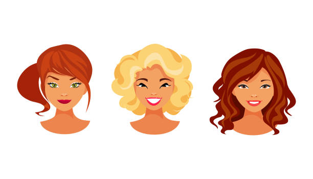 stockillustraties, clipart, cartoons en iconen met haar kleurset - blond curly hair