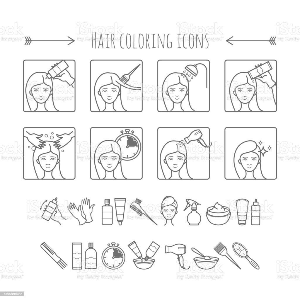Coloration des cheveux et style. 8 étapes de comment changer la couleur des cheveux en salon ou à domicile. Icônes vectorielles - clipart vectoriel de Adulte libre de droits