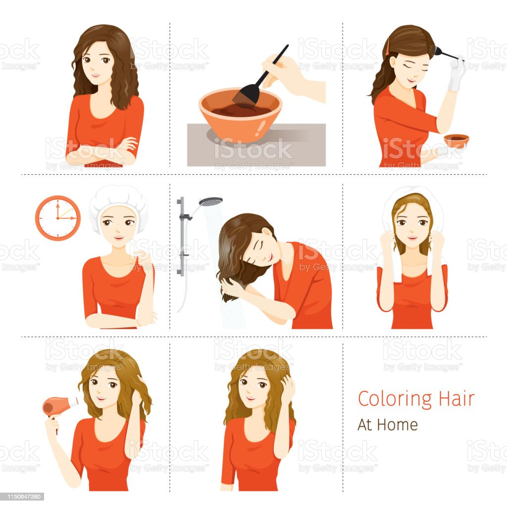 Hair Coloring Process Steps Of Young Woman Coloring Her Own ...