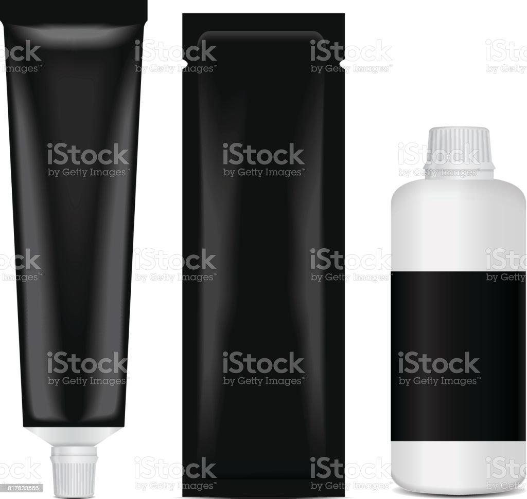 Hair coloring set package - tube, stick, bottle. 3d realistic mock up template vector art illustration