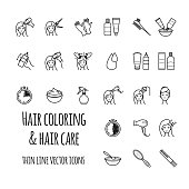 Hair coloring vector icons set