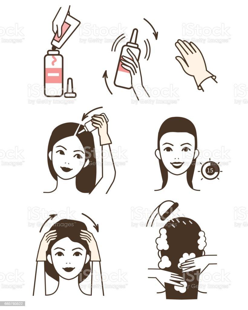Hair coloring vector art illustration