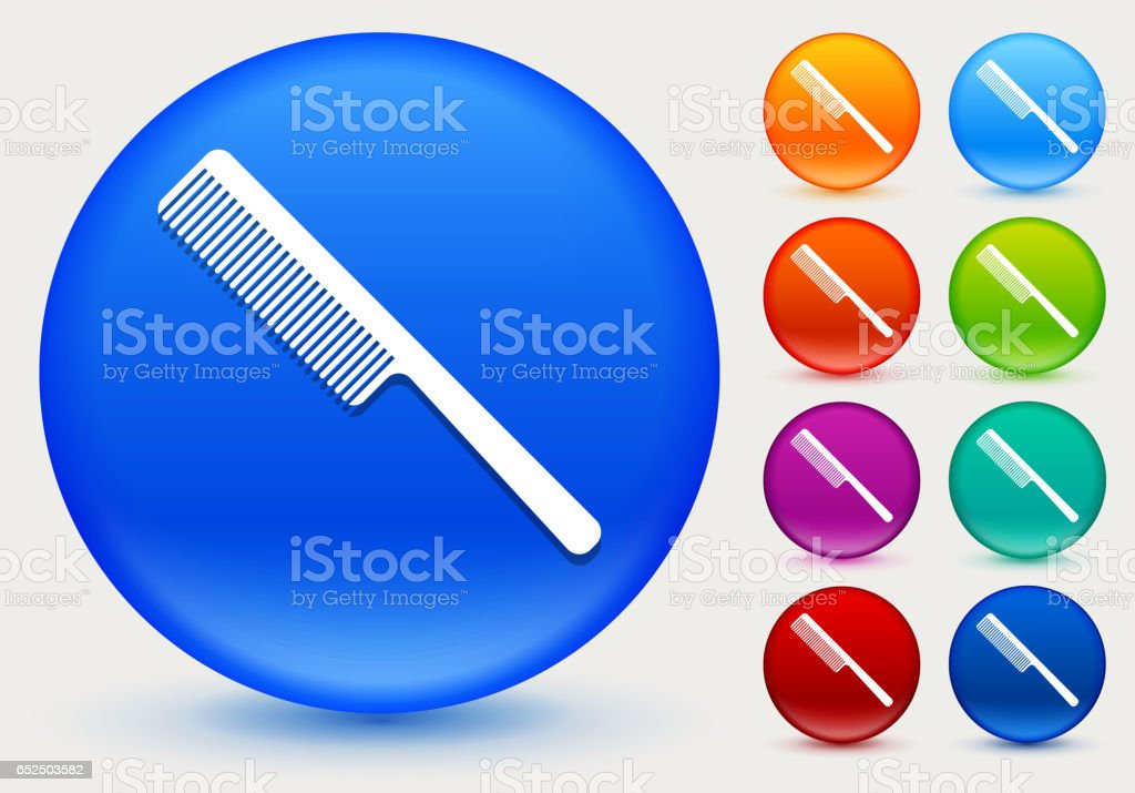 Hair Comb Icon On Shiny Color Circle Buttons Stock Vector Art More