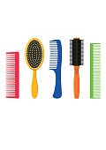 Hair combs and hairbrushes set. Fashion equipment hairdresser. Care themselves
