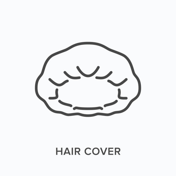Hair cover line icon. Vector outline illustration of hair net, head protection flat sign. Worker protective equipment thin linear pictogram Hair cover line icon. Vector outline illustration of hair net, head protection flat sign. Worker protective equipment thin linear pictogram. hair net stock illustrations