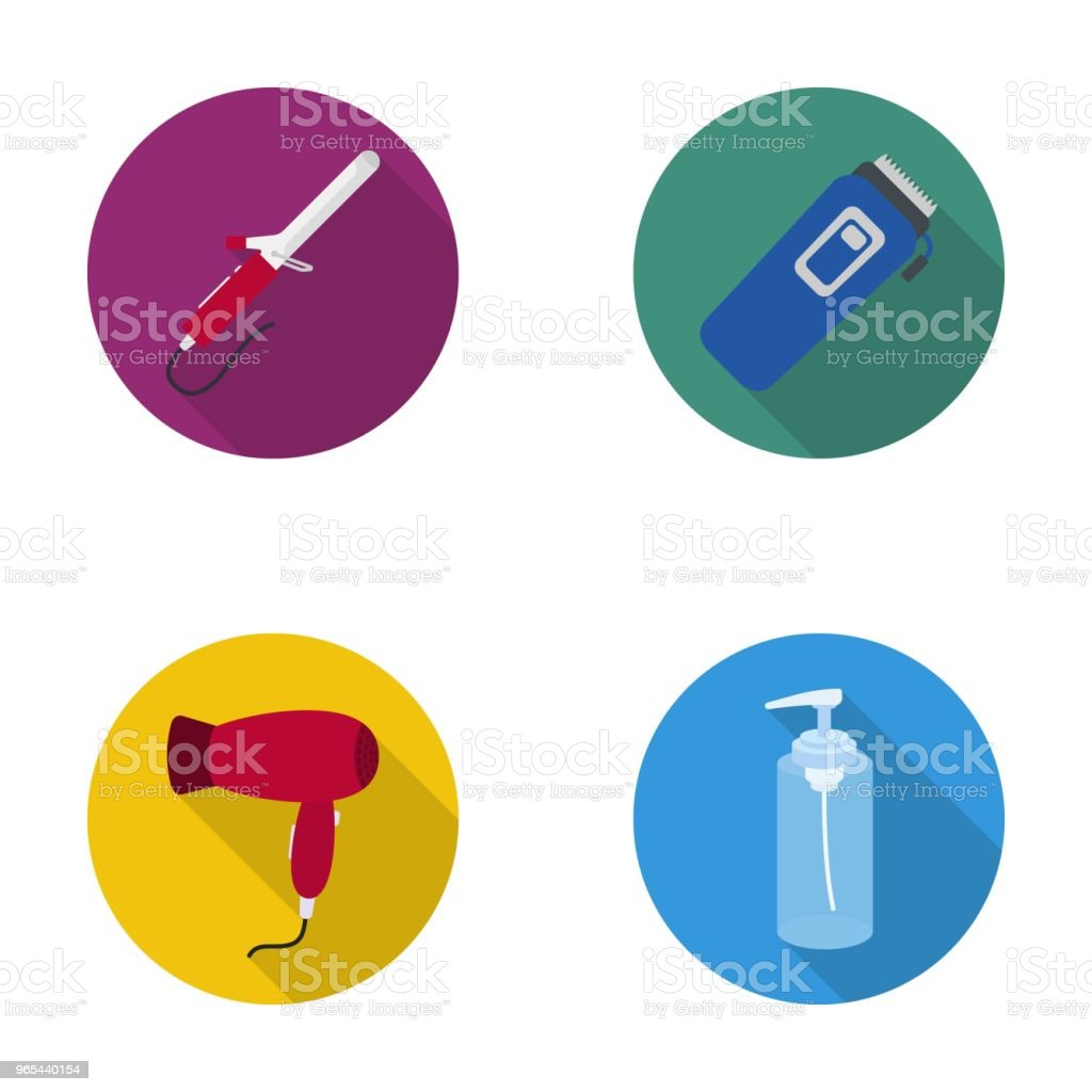 Hair curler, trimmer, hair dryer, lotion. Hairdresser set collection icons in flat style vector symbol stock illustration web. hair curler trimmer hair dryer lotion hairdresser set collection icons in flat style vector symbol stock illustration web - stockowe grafiki wektorowe i więcej obrazów fryzjer royalty-free