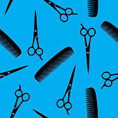 Hair Cutting Scissors and Comb Pattern