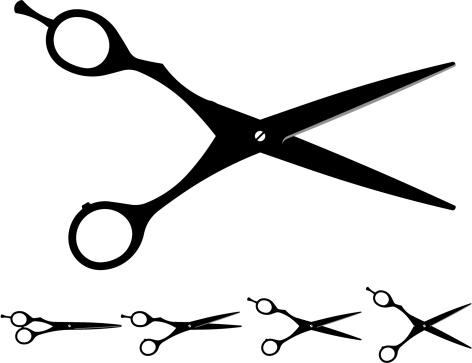 hair cutting scissors silhouette