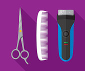 Vector illustration of scissors, comb, and electric shaver against a purple background in flat style.