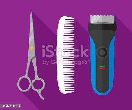 istock Hair Cutting Supplies Flat 1247563114