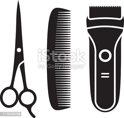 Vector silhouettes of hair cutting supplies.
