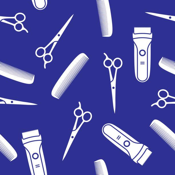 stockillustraties, clipart, cartoons en iconen met haar snijden tools patroon silhouet - kaal geschoren hoofd