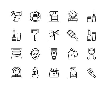 Hair Dryer, Cream, Moisturizer, Beauty, Shower Gel Icons