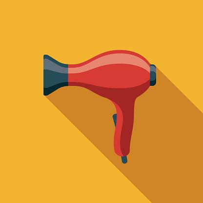 Hair Dryer Flat Design Appliance Icon