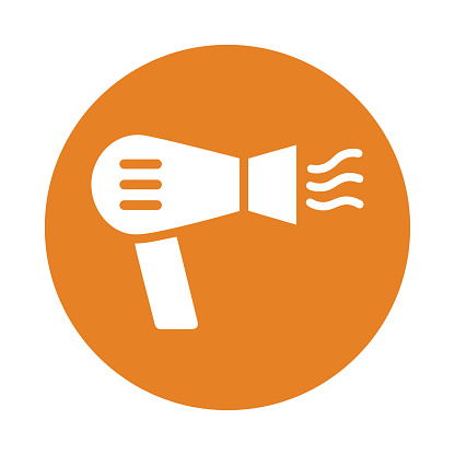 Hair dryer icon. Orange color vector on isolated white background