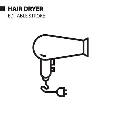 Hair Dryer Line Icon, Outline Vector Symbol Illustration. Pixel Perfect, Editable Stroke.